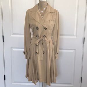 Anthropologie Pleated Double Breasted Trenchcoat